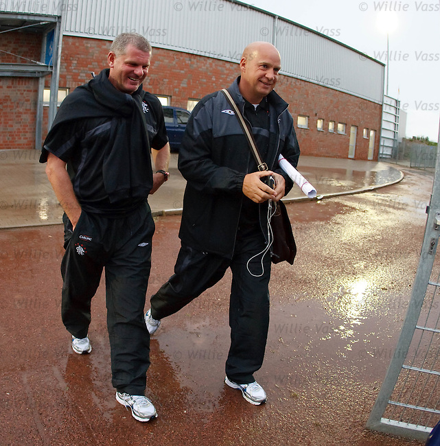 Ian Durrant and Kenny McDowall head for the team bus