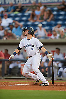 Pensacola Blue Wahoos Shrimp catcher Chris Okey (5) hits a two run home run during a game against the Jacksonville Jumbo on August 15, 2018 at Blue Wahoos Stadium in Pensacola, Florida.  Jacksonville defeated Pensacola 9-2.  (Mike Janes/Four Seam Images)