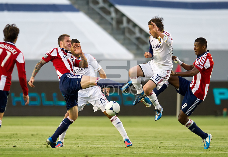 CARSON, CA - June 16, 2012: Chivas USA defender Danny Califf (23) and Real Salt Lake midfielder Ned Grabavoy (20) during the Chivas USA vs Real Salt Lake match at the Home Depot Center in Carson, California. Final score Real Salt Lake 3, Chivas USA 0.