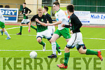 Kerry's Karl O'Sullivan gets away from Bray's Dylan Thornton and David Gilshenan in the SSE Airtricity U17 League Game  Kerry V Bray Wanderers at Mounthawk Park on Sunday
