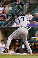 Columbus Clippers Chad Huffman #17 during the second game of a double header against the Rochester Red Wings at Frontier Field on August 15, 2011 in Rochester, New York.  Rochester defeated Columbus 4-3.  (Mike Janes/Four Seam Images)