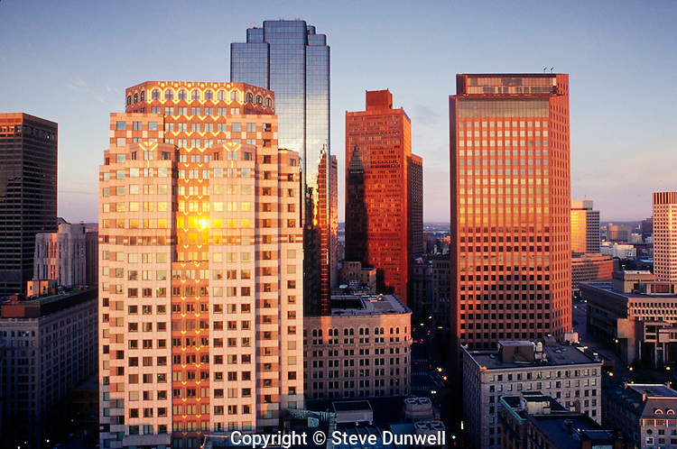 75 State Street and office bulidngs at dawn, Boston, MA
