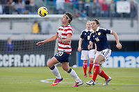 February 9, 2013:  USA Women's National Team forward Amy Wambach (20) controls the ball off her chest during action between the USA Women's National Team and Scotland at EverBank Field in Jacksonville, Florida.  USA defeated Scotland 4-1............