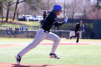 ELON, NC - MARCH 1: Diego Gines #11 of Indiana State University races to first base after hitting the ball during a game between Indiana State and Elon at Walter C. Latham Park on March 1, 2020 in Elon, North Carolina.