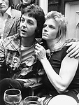 Wings 1973 Paul McCartney and Linda McCartney After Show party Oxford 5th May 1973<br /> &copy; Chris Walter