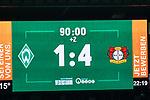 Anzeigentafel Endstand 1:4<br /> <br /> Sport: Fussball: 1. Bundesliga: Saison 19/20: <br /> 26. Spieltag: SV Werder Bremen vs Bayer 04 Leverkusen, 18.05.2020<br /> <br /> Foto ©  gumzmedia / Nordphoto / Andreas Gumz / POOL <br /> <br /> Nur für journalistische Zwecke! Only for editorial use!<br />  DFL regulations prohibit any use of photographs as image sequences and/or quasi-video.