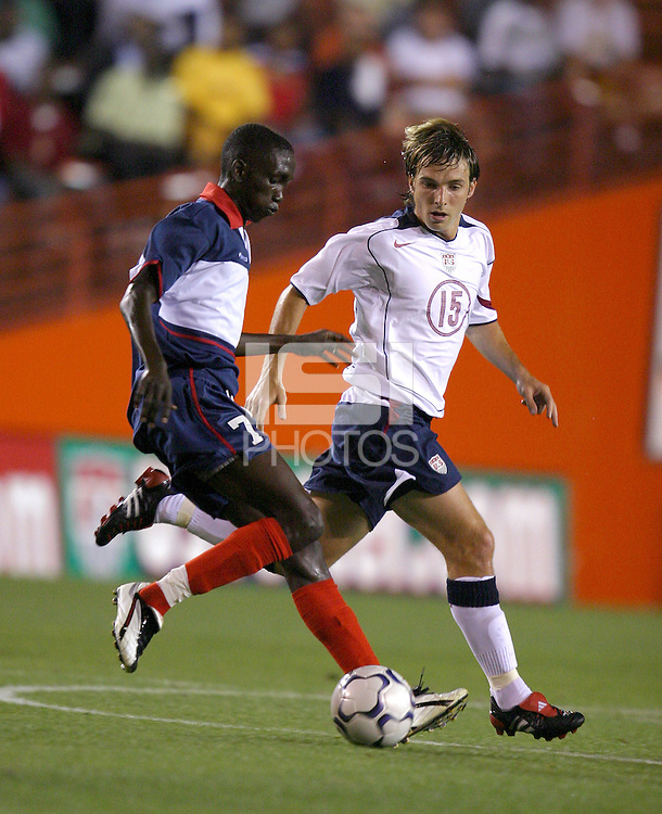 Wasdon Coriolan, left, Bobby Convey, right, USA vs. Haiti, 2004.