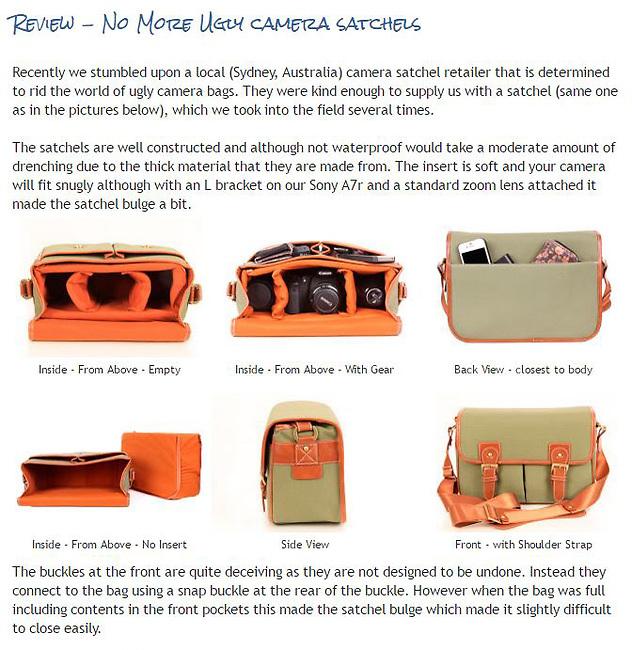 Review - No More Ugly camera satchels<br /> <br /> http://widescenes.blogspot.com.au/