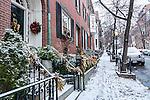 Evening snowfall on Beacon Hill, Boston, Massachusetts, USA