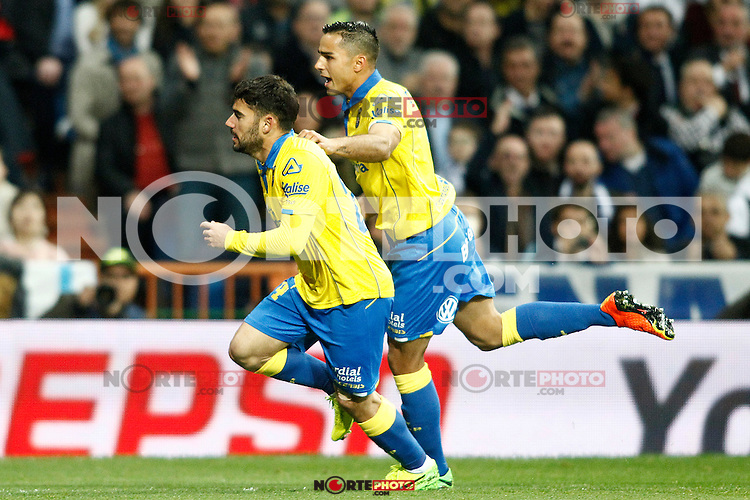 UD Las Palmas' Tana Dominguez (l) and David Simon celebrate goal during La Liga match. March 1,2017. (ALTERPHOTOS/Acero) /NortePhoto.com