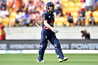 England captain Eoin Morgan walks back after getting out bowled during the Third ODI game between Black Caps v England, Westpac Stadium, Wellington, Saturday 03rd March 2018. Copyright Photo: Raghavan Venugopal / © www.Photosport.nz 2018