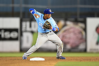 Daytona Cubs shortstop Marco Hernandez (11) attempts to turn a double play during a game against the Dunedin Blue Jays on April 14, 2014 at Florida Auto Exchange Stadium in Dunedin, Florida.  Dunedin defeated Daytona 1-0  (Mike Janes/Four Seam Images)