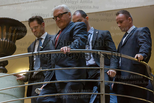 Frank-Walter Steinmeier (2nd L) foreign minister of Germany arrives to a press conference after the meeting of the foreign ministers of the V4 group (Czech Republic, Hungary, Poland and Slovakia) in Budapest, Hungary on March 13, 2014. ATTILA VOLGYI