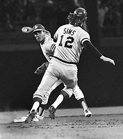 Campy Campaneris double play forcing out Duke Sims..(1973 photo/Ron Riesterer)
