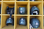 CHAPEL HILL, NC - FEBRUARY 27: High Point batting helmets. The University of North Carolina Tar heels hosted the High Point University Panthers on February 27, 2018, at Boshamer Stadium in Chapel Hill, NC in a Division I College Baseball game. UNC won the game 10-0.
