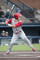 Indiana Hoosiers second baseman Tony Butler (4) at bat against the Michigan Wolverines during the NCAA baseball game on April 21, 2017 at Ray Fisher Stadium in Ann Arbor, Michigan. Indiana defeated Michigan 1-0. (Andrew Woolley/Four Seam Images)