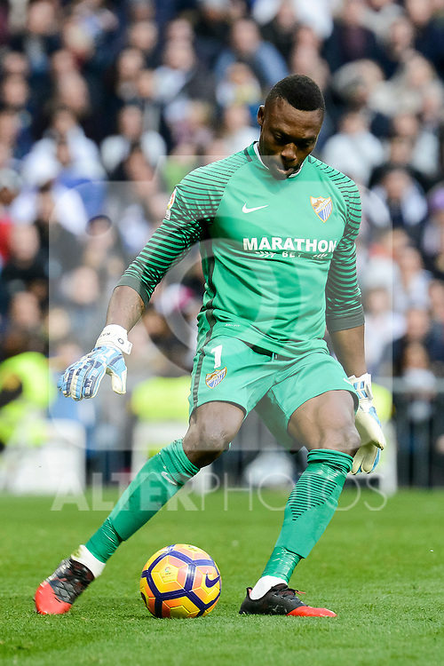 Malaga CF's Idriss Carlos Kameni during La Liga match between Real Madrid and Malaga CF at Santiago Bernabeu Stadium in Madrid, Spain. January 21, 2017. (ALTERPHOTOS/BorjaB.Hojas)