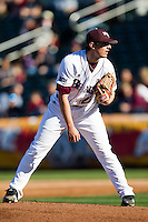 Cody Schumacher (21) of the Missouri State Bears on the mound during a game against the Southern Illinois University- Edwardsville Cougars at Hammons Field on March 10, 2012 in Springfield, Missouri. (David Welker / Four Seam Images)