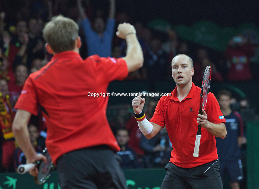 Gent, Belgium, November 28, 2015, Davis Cup Final, Belgium-Great Britain, day two, doubles match, David Goffin (L)/Steve Darcis (BEL) celebrate a point<br /> Photo: Tennisimages/Henk Koster