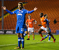 Blackpool's Viv Solomon-Otabor celebrates scoring his side's first goal <br /> <br /> Photographer Alex Dodd/CameraSport<br /> <br /> The EFL Sky Bet League One - Blackpool v Portsmouth - Saturday 11th November 2017 - Bloomfield Road - Blackpool<br /> <br /> World Copyright &copy; 2017 CameraSport. All rights reserved. 43 Linden Ave. Countesthorpe. Leicester. England. LE8 5PG - Tel: +44 (0) 116 277 4147 - admin@camerasport.com - www.camerasport.com