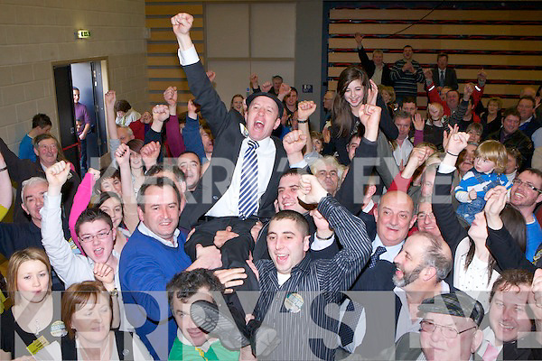 Michael Healy Rae celebrates with his supporters after he was elected on the final count in Kerry South on Sunday