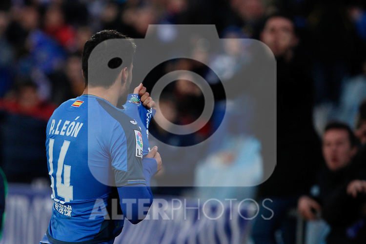 Getafe´s Pedro Leon celebrates a goal during 2014-15 La Liga match at Alfonso Perez Coliseum stadium in Getafe, Spain. February 08, 2015. (ALTERPHOTOS/Victor Blanco)
