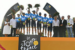 Movistar Team win the overall team classification, on the podium at the end of Stage 21 of the 2018 Tour de France running 116km from Houilles to Paris Champs-Elysees, France. 29th July 2018. <br /> Picture: ASO/Pauline Ballet | Cyclefile<br /> All photos usage must carry mandatory copyright credit (&copy; Cyclefile | ASO/Pauline Ballet)