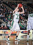 North Texas Mean Green center Ben Knox (15) in action during the NCAA  basketball game between the Arkansas State Red Wolves and the University of North Texas Mean Green at the North Texas Coliseum,the Super Pit, in Denton, Texas. UNT defeated Arkansas State 83 to 64..