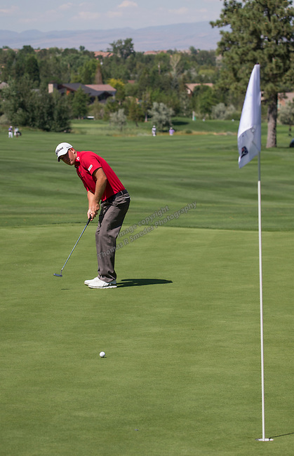 Tom Hoge putt onthe 2nd green during the Barracuda Championship PGA golf tournament at Montrêux Golf and Country Club in Reno, Nevada on Saturday, July 27, 2019.