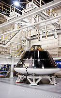 The Orion Multi-Purpose Crew Vehicle at Lockheed Martin in Denver, Colorado, Tuesday, June 7, 2011. The MPCV will serve as the exploration vehicle for NASA that will carry the crew to space, provide emergency abort capability, sustain the crew during the space travel, and provide safe re-entry from deep space return velocities. The Orion crew exploration vehicle (CEV) program will provide a state-of-the-art human space flight system capable of safely transferring astronauts to and from the International Space Station (ISS), the Moon, Mars and other destinations beyond low earth orbit (LEO)..Photo by Matt Nager