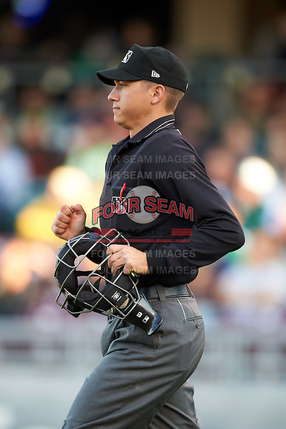 Umpire Tyler Olson during a game between the Great Lakes Loons and Dayton Dragons on May 21, 2015 at Fifth Third Field in Dayton, Ohio.  Great Lakes defeated Dayton 4-3.  (Mike Janes/Four Seam Images)