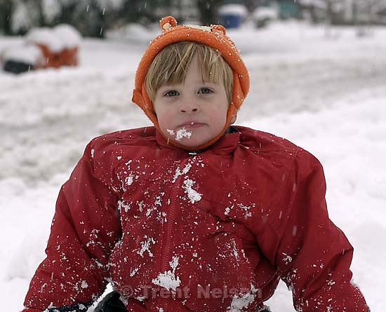 Nathaniel Nelson playing in the snow. 11/25/2001, 4:21:29 PM<br />