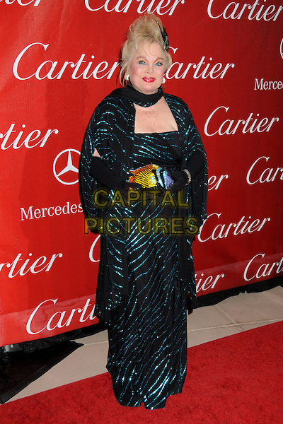 CAROL CONNORS .Palm Springs International Film Festival Awards Gala 2010 held at the Palm Springs Convention Center, Palm Springs, California, USA, .5th January 2010..full length black long maxi sequined sequin dress blue green pattern patterned fish beaded novelty clutch bag purse .CAP/ADM/BP.©Byron Purvis/AdMedia/Capital Pictures.