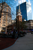 Old South Meeting House, old and new contrast In Boston, MA, USA