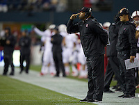 Stanford head coach David Shaw stands on the sideline during play against Washington State at CenturyLink Field in Seattle Saturday September 28, 2013.