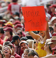 TALLAHASSEE, FL 10/31/09-FSU-NCST FB09 CH23-A Florida State fan show's her support for Christian Ponder during first half action against N.C. State, Saturday at Doak Campbell Stadium in Tallahassee. .COLIN HACKLEY PHOTO
