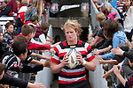 Steelers Captain Jamie Chipman leads the Steelers out for the second half of the ITM Cup rugby game between Counties Manukau Steelers and Northland, played at Bayer Growers Stadium, Pukekohe, on Sunday September 26th 2010..The Counties Manukau Steelers won 40 - 24 after leading 27 - 7 at halftime.