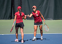 Stanford, CA - April 5, 2014.  Stanford Women's Tennis vs USC at the Taube Family Tennis Stadium.