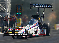 Mar 28, 2014; Las Vegas, NV, USA; NHRA top fuel driver Antron Brown during qualifying for the Summitracing.com Nationals at The Strip at Las Vegas Motor Speedway. Mandatory Credit: Mark J. Rebilas-USA TODAY Sports