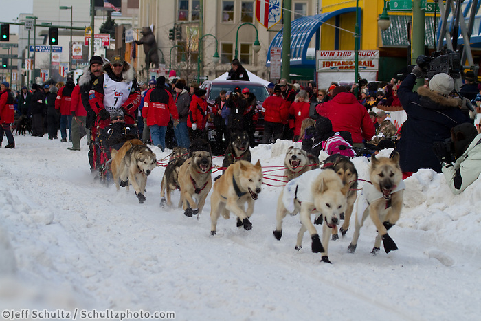 2010 Iditarod Ceremonial Start in Anchorage Alaska musher # 7 PAUL GEBHARDT with Iditarider CHRISTIAN FOX