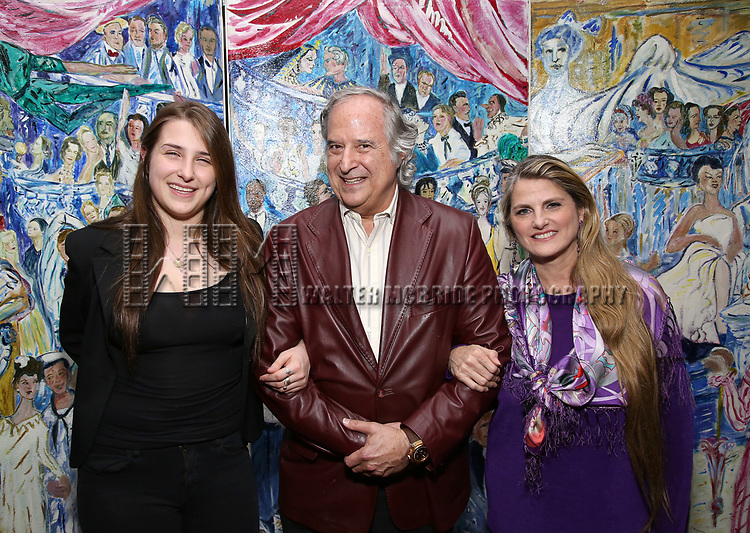 Leah Lane, Stewart F. Lane and Bonnie Comley attend the UMass Lowel Cockail Party for 'Sunset Boulevard' hosted by Chancellor Jacquie Moloney, Bonnie Comley and Stewart F. Lane at Sardi's on April 5, 2017 in New York City