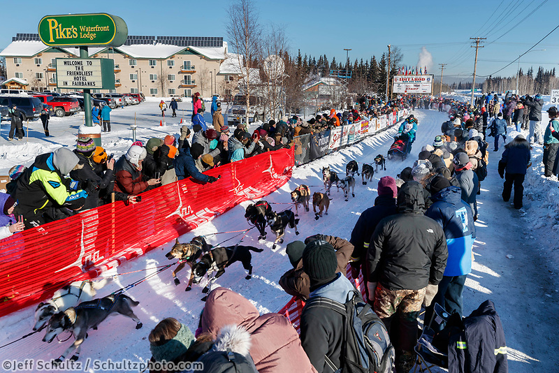 Misha Wiljes leaves the re-start line of the 2017 Iditarod in Fairbanks, Alaska at Pike's Landing on Monday March 6, 2017.<br /> <br /> Photo by Jeff Schultz/SchultzPhoto.com  (C) 2017  ALL RIGHTS RESVERVED