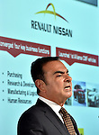 May 12, 2014, Yokohama, Japan - CEO Carlos Ghosn of Nissan Motor Co., presents its quarterly earnings during a news conference at its head office in Yokohama, south of Tokyo, on Monday, May 12, 2014. Ghosn said its net profit rose 4.8% in the January-to-March quarter, thanks to the weak yen which offset sluggish sales in overseas markets. Ghosn forecast a net profit of \405 billion in the current business year with a global sales target of 5.65 million vehicles.  (Photo by Natsuki Sakai/AFLO)