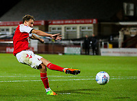 Fleetwood Town's Eddie Clarke misses his penalty<br /> <br /> Photographer Alex Dodd/CameraSport<br /> <br /> The EFL Checkatrade Trophy - Northern Group B - Fleetwood Town v Leicester City U21 - Tuesday September 11th 2018 - Highbury Stadium - Fleetwood<br />  <br /> World Copyright &copy; 2018 CameraSport. All rights reserved. 43 Linden Ave. Countesthorpe. Leicester. England. LE8 5PG - Tel: +44 (0) 116 277 4147 - admin@camerasport.com - www.camerasport.com