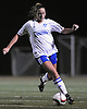Nassau Team No. 18 Jen Wahlig moves the ball upfield during the first of two Long Island varsity girls' soccer senior all-star games against Suffolk at Bethpage High School on Friday, November 27, 2015.<br /> <br /> James Escher