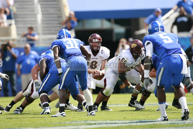 Central Michigan quarterback Ryan Radcliff snaps the ball during the second half of UK's first home game against Central Michigan, Saturday, Sept. 10, 2011 in Lexington, Ky.  Photo by Brandon Goodwin | Staff