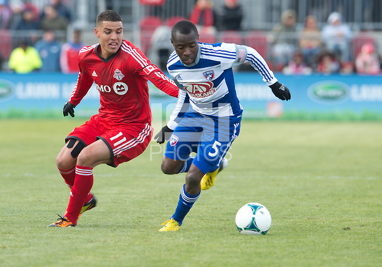 06 April 2013: FC Dallas defender Jair Benitez #5 and Toronto FC midfielder Luis Silva #11in action during an MLS game between FC Dallas and Toronto FC at BMO Field in Toronto, Ontario Canada..The game ended in a 2-2 draw..