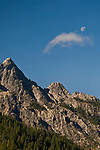 Moon and cloud over Castle Crags State Park, Shasta County, California