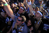 Fans of the University of Akron after the 2010 College Cup final against the University of Louisville at Harder Stadium, on December 12 2010, in Santa Barbara, California.Akron champions, 1-0.