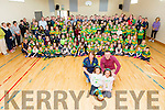 County Senior hurling Championship winners Kilmoyley got a heroes welcome at Kilmoyley NS on Monday. Pictured Caragh Kenny O'Sullivan and Caoilinn Kenny O'Sullivan, Captain Sean Mansell and Principal Aine Crowe, students, Staff and the Kilmoyle Hurling Team